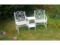 Victorian style iron garden furniture/ seats white