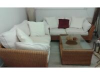 Conservatory furniture for sale - 2 matching sofas and matching glass coffee table