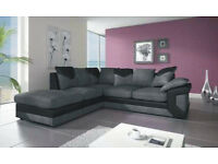 DINO JUMBO CORD BLK/GRY 3+2 SEATER SOFA OR CORNER SOFA WITH FOOTSTOOL | EXPRESS DELIVERY ALL UK