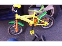Kids bike 12 inch with stabilisers and parents handle