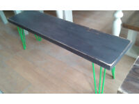 solid oak painted bench with green hairpin legs
