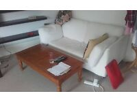 White Ikea sofa (washable covers). Good condition. £30