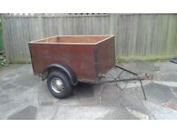Sturdy Box Trailer and covers, new tyres. 50mm ball coupling, mudguards & full lighting