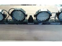 Pair of 4 head led colourwash lighting units with stands and controllers.