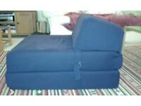 Single folding chair / spare bed, navy blue