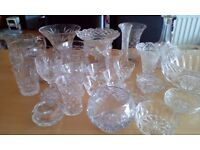 Glass collection, some cut glass