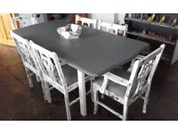 Shabby chic table that extendeds 6 chairs + bookcase + 4 drawer unite all professionally done