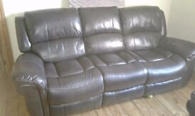 Leather reclining sofa and chair 6 months old
