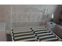 Ivory Double Bed Frame With Mattress