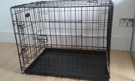 2 door medium dog crate cage, collapisible with slide out tray.