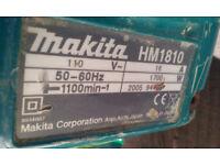 Makita HM1810 110v Breaker, Heavy breaker, Demolition Hammer