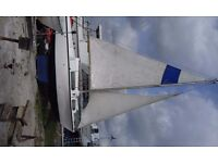 18ft Sailing Boat Bilge Keel - with 6hp outboard and sails