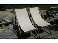 PAIR OF TEAK DECK CHAIRS SOUND AND SOLID GARDEN PATIO