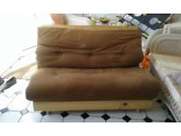 Brown futon sofa