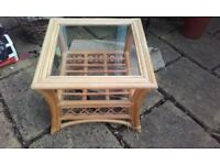 2 SMALL GLASS TOP BAMBOO TABLES IDEAL FOR CONSERVATORY