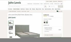 JOHN LEWIS EMILY DOUBLE BED GREY & SEMI ORTHO MATTRESS. View/Collect Kirkby NG17