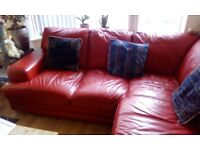 Red leather suite plus chair and pouffe to match £400.00