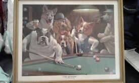 Framed print of 'The Hustler' showing cartoon caricatures of dogs playing pool
