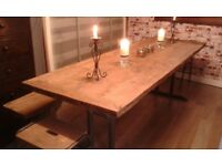 Fantastic contemporary large dining table made from reclaimed wood with iron legs