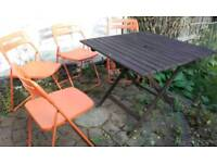 Wooden garden table & 4 foldable chairs