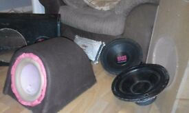 Selection of car sub woofers , amps and boxes plus wiring kit