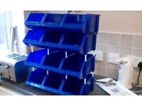 36 x NEW Small part free-standing storage bins, blue, multi-combination