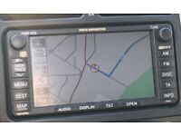 Toyota double din car audio system with satnav, & latest maps.search from post codes etc.