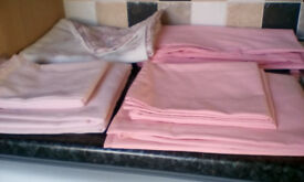 2 sets of Pink, Single bed bedding, used but good for spares.