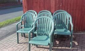 Grosfillex Green garden chairs x 7