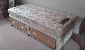 Single bed twin draw divan