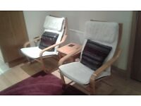 IKEA POANG ROCKING CHAIR - OAK FRAME NATURAL COLOURED COVER (2 AVAILABLE)