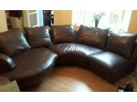 Brown Leather Corner Sofa Interchangeable