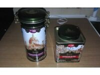 HARRODS STORE SET OF 5 TINS AS NEW COFFEE, TEA AND BISCUITS X 3