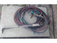 Oxyacetylene torch and pipes with guages