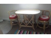 CANE STYLE DINING TABLE AND CHAIRS