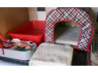 Cat bed, litter tray and other assessories - used