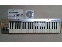 Keyboard, MIDI USB Keyboard M-Audio 49 key, with Installation software, cable and instruction manual