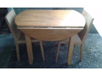 Modern Drop leaf table and 2 chairs - DELIVERY AVAILABLE