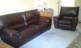Natuzzi leather large 2-seater sofa and swivel recliner
