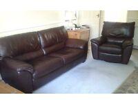 Natuzzi leather large 2-seater sofa and swivel recliner
