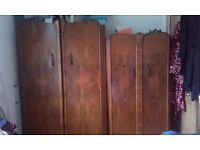 Walnut veneer vintage wardrobes and dressing table