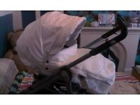 white leather babystyle s3d pushchair