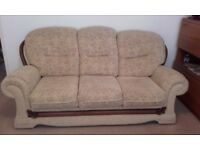 Sofa and 2 Chairs - gold/cream velour