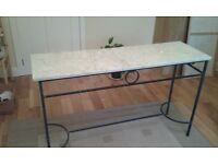 Marble topped wrought iron table