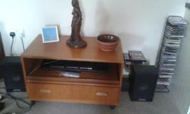G plan tv stand display cabinet with slide out shelf