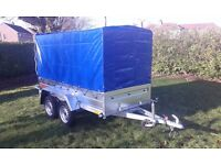 Trailers twin axle 7.7 x 4.1 whit cover only £920 INC VAT certificate for left-hand traffic