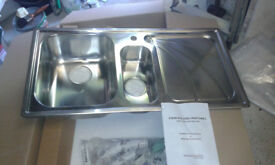 Rangemaster Chicago 1 + 1/2 bowl stainless steel sink