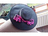 PARIGI PARIS black and pink wide brim occasion hat