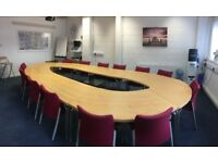 Excellent solid conference table and 14 chairs**Reduced to £750**