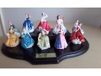 10 Royal Doulton Miniature Ladies on Wooden Display Stand Mint Condition